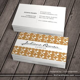 CUTLERY PATTERN on KRAFT PAPER for CATERING, CHEFS Business Card