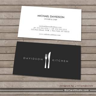 Fork & Knife Logo 2 for Chef, Foodie, Restaurant Business Card Templates