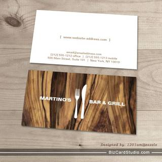 FORK & KNIFE LOGO on LUXE WOOD Business Card