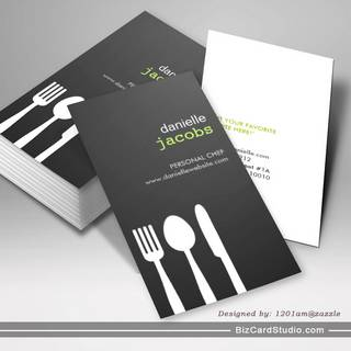 FORK SPOON KNIFE in GRAY Business Card