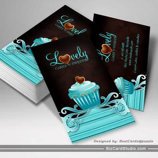 Bakery Cupcake Blue Swirls Chocolate Brown Business Card