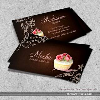 Cupcake Business Card Linen Brown Pink Roses