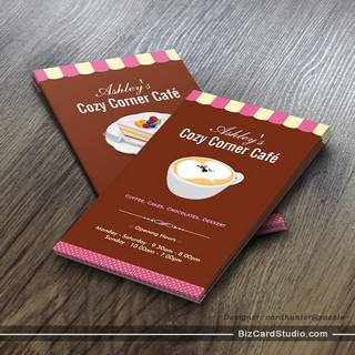 Coffee Shop - Cozy Cornet Café Cafe Business Card