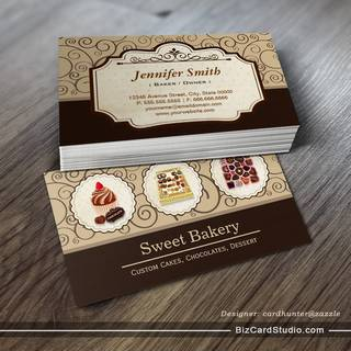 Custom Box of Chocolates Dessert Bakery Store Business Card Templates