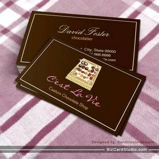 Custom Box of Chocolates Dessert Shop Store Business Card Templates