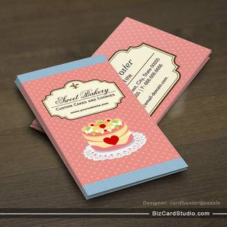 Custom Cakes and Cookies Dessert Bakery Store Business Card Template