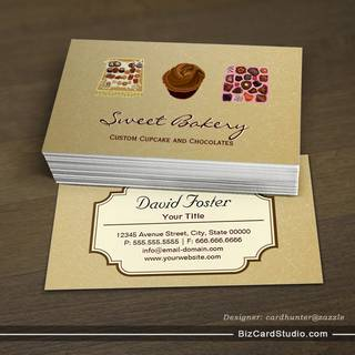Custom Cupcake Chocolates Bakery Store Business Card Template