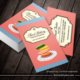 Custom French Parisian Macarons Dessert Store Business Card Templates