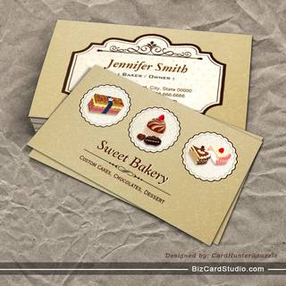 Sweet Bakery Store Custom Cakes Chocolates Dessert Business Card Templates