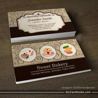 Sweet Bakery Store - Custom Cakes Pastry Macarons Business Cards