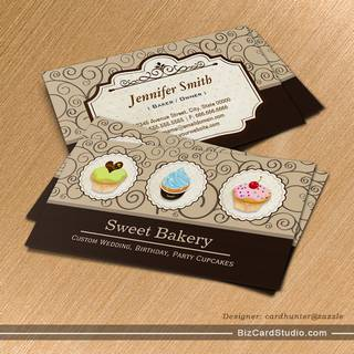 Sweet Bakery Store Lovely Custom Cupcakes Business Card