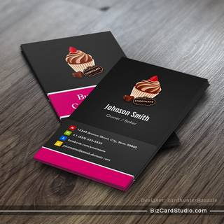 Bakery business card templates studio sweet chocolate cupcake pastry bakery business card reheart Gallery