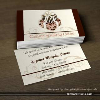 Custom Wedding Cake Modern Dot Stripe Swirls Business Card