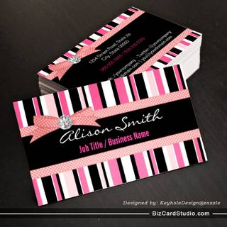 Pink and black stripes with bow business card
