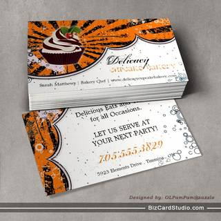 Cupcake Bakery Bold Stylish Grunge Business Card
