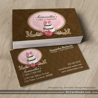 Elegant Cake Bakery Business Cards