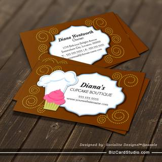 Whimsical Cupcake & Swirls Bakery Business Cards