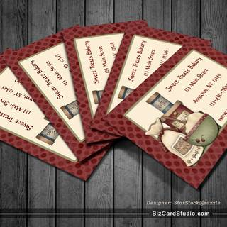 Country Baking, Maroon Dots Business Card