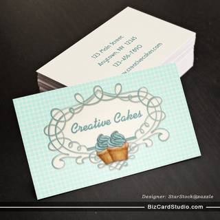 Fancy Frame Blue Cupcakes Business Card