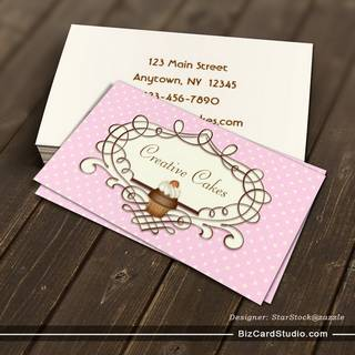 Fancy Frame Pink Buttercream Cupcake Business Card