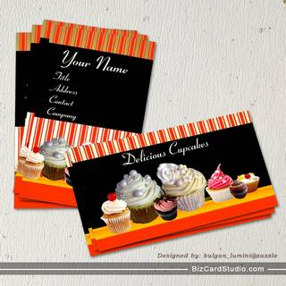 YUMMY CUPCAKES DESERT SHOP WHITE RED STRIPES BUSINESS CARD TEMPLATE