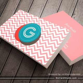 Cute Zigzag Stripes Monogram Business Card