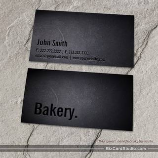 Professional Black Out Bakery Business Card
