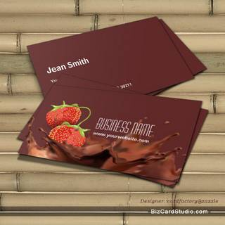 Sweet Chocolate & strawberries Business Card