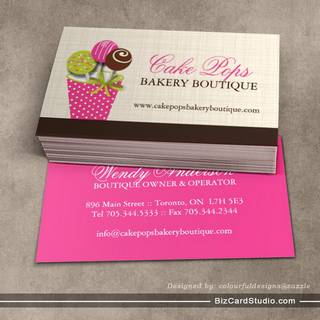 Bakery business card templates studio cake pops business cards flashek Gallery