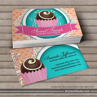 Chic and Elegant Cake Bites Business Cards