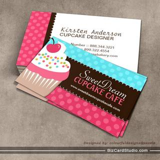 Cute And Whimsical Cupcake Bakery Business Cards
