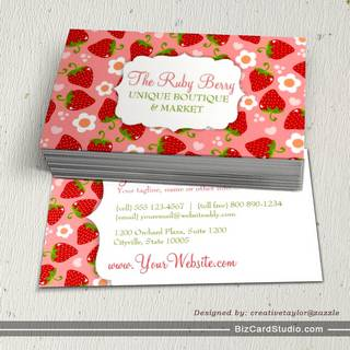 Strawberries Custom Business Calling Card Business Cards