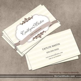 BUSINESS CARD stylish elegant ivory brown