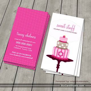 CUTE BUSINESS CARD :: sweet cakes bakery pink 3