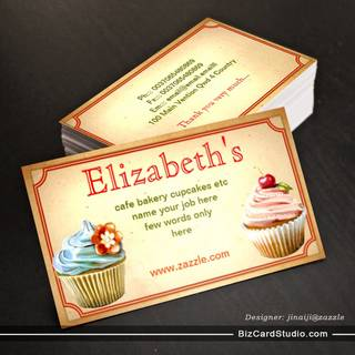 colorful creamy chocolates cupcakes business card