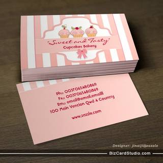 pink milky cupcake bakery business cards
