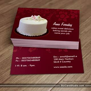 white cake business card