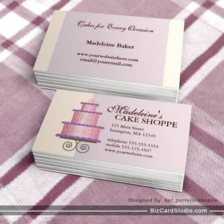 Elegant Cake on Blue Custom Bakery Business Card