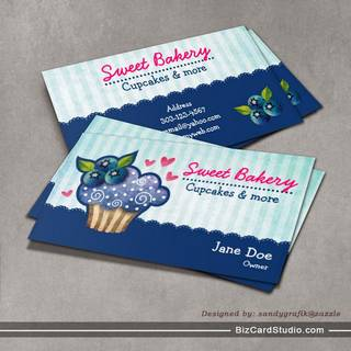 Blueberry Passion Cupcake Business Cards