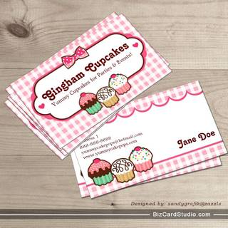 Gingham Cupcakes Business Cards