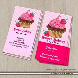 Bakery business card templates studio strawberry cupcake business cards cheaphphosting Image collections