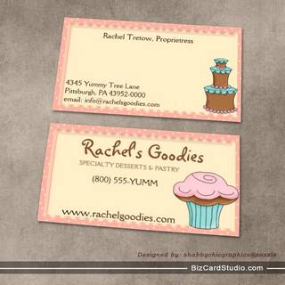 Whimsical Bakery w/Cupcake Profile - Business Card