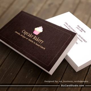 Cupcake Bakery Business Card Faux Brown Linen 2