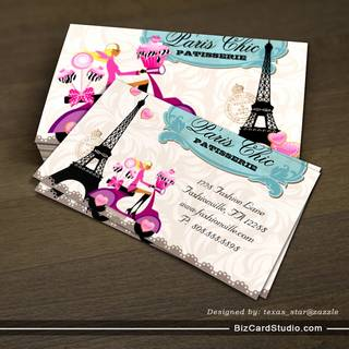 Bakery Cupcake Cake Pops Paris Eiffel Tower Business Card Template