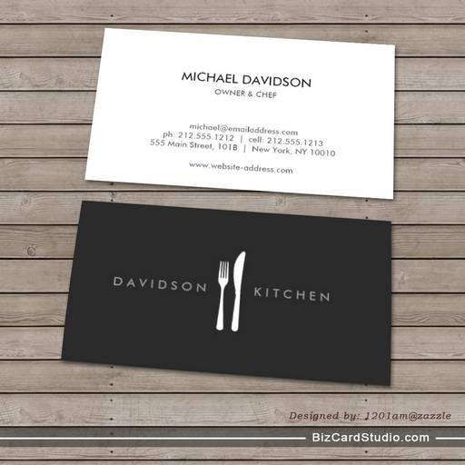 Fork knife logo 2 for chef foodie restaurant business card templates colourmoves