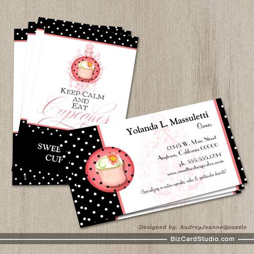 Keep Calm & Eat Cupcakes - Bakery Business Cards
