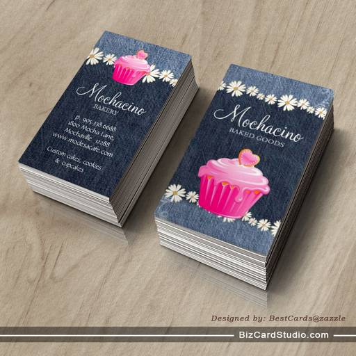 Bakery Business Card Cupcake Jeans Daisy Pink