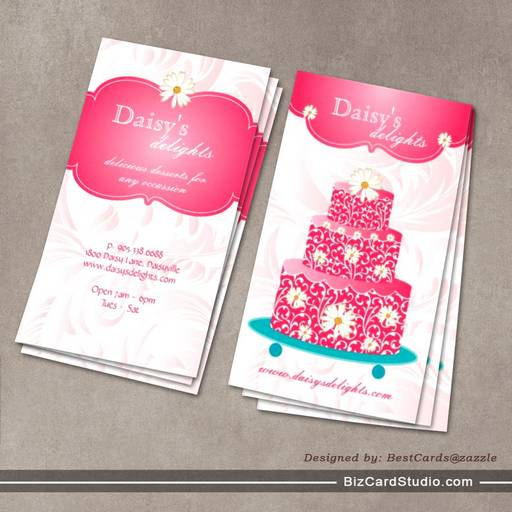 Bakery Wedding Cake Pastry Chef Pink Floral Daisy Business Card Template