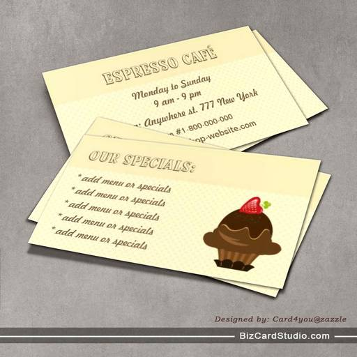 Coffee and Cakes Cafe Business Card