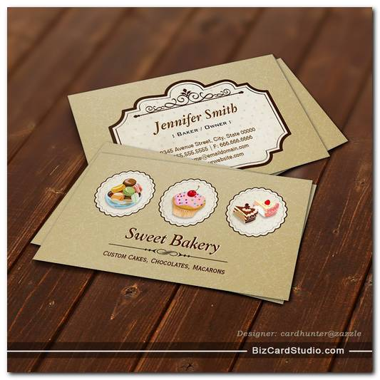 Custom Cupcakes Macaroons Dessert Bakery Store Business Card Templates